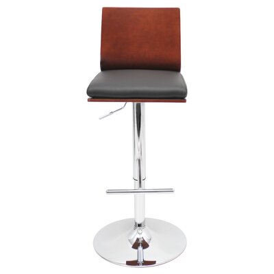 Triche Adjustable Height Swivel Bar Stool Upholstery: Cherry / Black