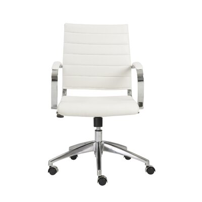 Emil Desk Chair Arm: Yes, Upholstery: White