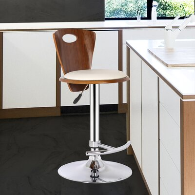Braun Adjustable Height Swivel Bar Stool Upholstery: Cream