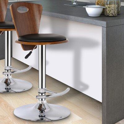 Braun Adjustable Height Swivel Bar Stool Upholstery: Black