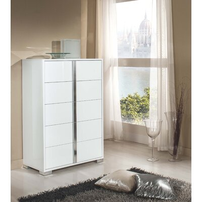 Demaria 5 Drawer Modern Rectangular Chest Color: White