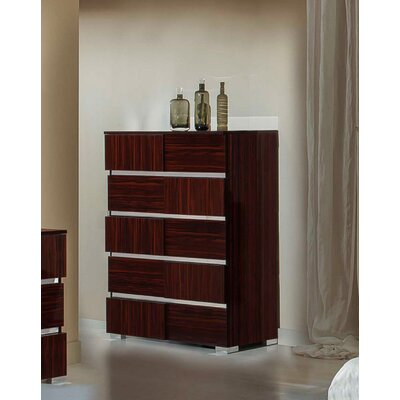 Falbo 5 Drawer Italian Modern Chest Color: Ebony