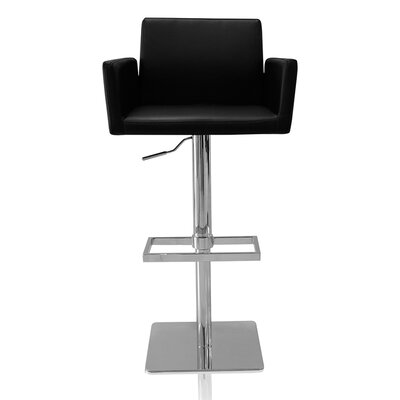 Tuller Adjustable Height Swivel Bar Stool Color: Black