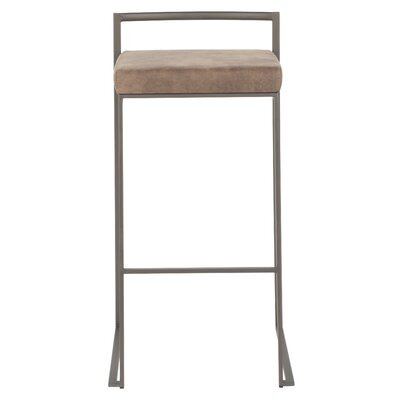 "Gary 30.75"" Bar Stool Color: Stainless Steel, Upholstery: Brown Cowboy"