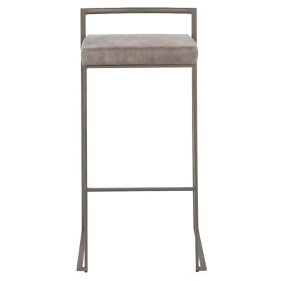 "Gary 30.75"" Bar Stool Color: Stainless Steel, Upholstery: Stone Cowboy"
