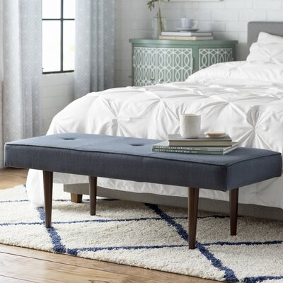 Aldgate Tufted Polyester Upholstered Bench Color: Navy