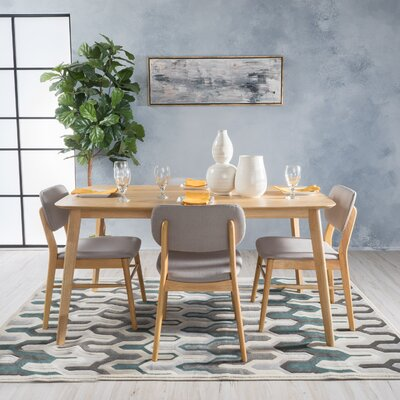 Drumadried 5 Piece Dining Set Chair Color: Light Gray