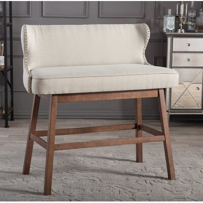 Isobel Upholstered Bar Bench Color: Beige