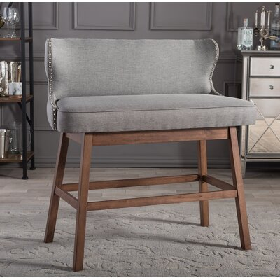 Isobel Upholstered Bar Bench Color: Grey