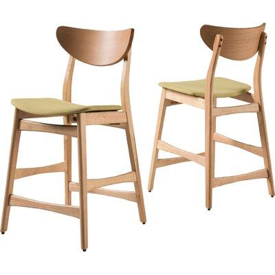 "Laceyville 24"" Bar Stool Upholstery: Green Tea, Frame Finish: Oak"