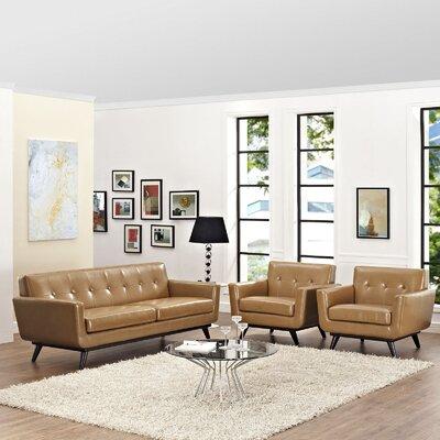 Saginaw Leather 3 Piece Living Room Set Upholstery: Tan