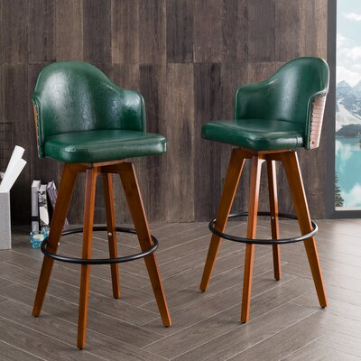 "Lennon 29.72"" Swivel Bar Stool Color: Green"