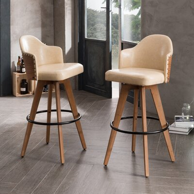 "Lennon 29.72"" Swivel Bar Stool Color: Beige"
