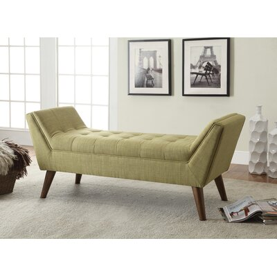 Serena Upholstered Bench Color: Green
