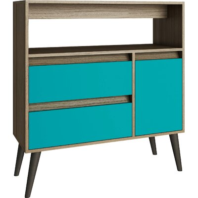 Carneal Console Table Color: Oak/Aqua