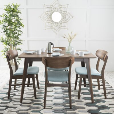 Canning 5 Piece Dining Set Table Finish: Natural Walnut, Chair Finish: Mint