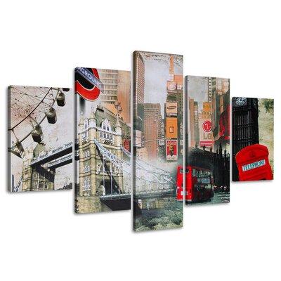 Urban Designs London 5 Piece Photographic Print on Canvas Set