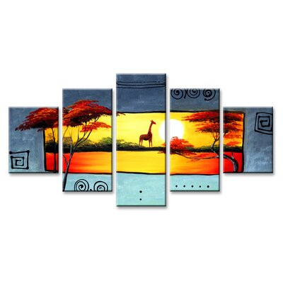 Urban Designs Africa 5 Piece Graphic Art Wrapped on Canvas Set