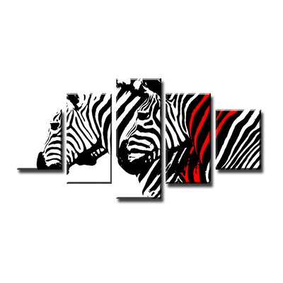 Urban Designs Zebra 5 Piece Graphic Art on Canvas Set