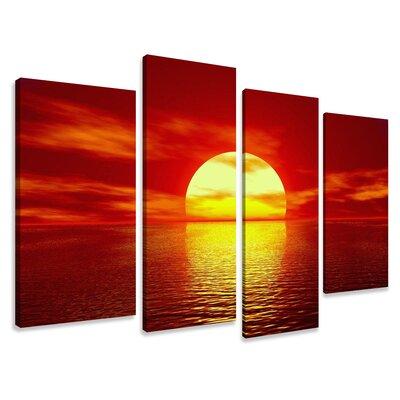 Urban Designs Sunset 4 Piece Photographic Print on Canvas Set
