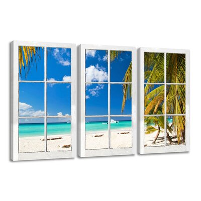 Urban Designs Window Palm Trees View 3 Piece Photographic Print on Canvas Set