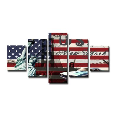 Urban Designs USA 5 Piece Graphic Art on Canvas Set