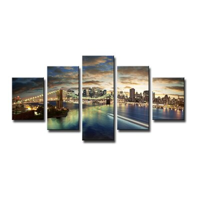 Urban Designs New York Skyline 5 Piece Photographic Print Wrapped on Canvas Set