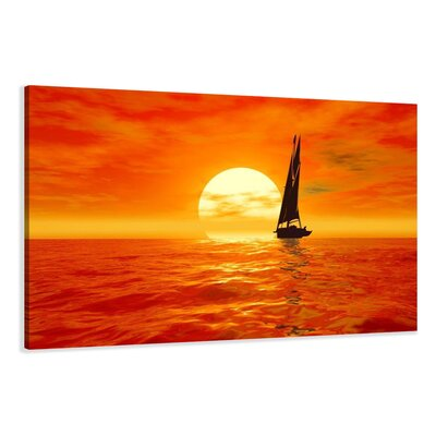 Urban Designs Sailboat Sun Photographic Print Wrapped on Canvas