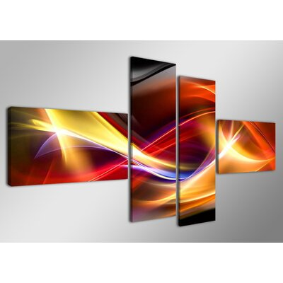 Urban Designs Play Of Colours 4 Piece Graphic Art on Canvas Set