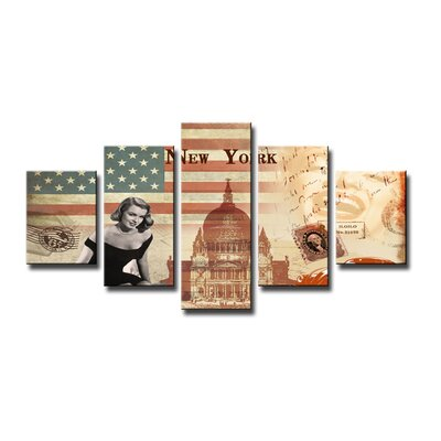 Urban Designs USA 5 Piece Graphic Art Wrapped on Canvas Set