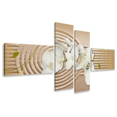 Urban Designs Sand Orchid 4 Piece Photographic Print on Canvas Set