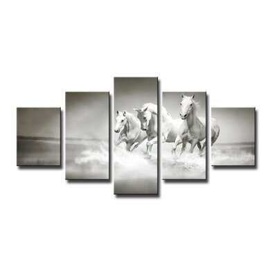 Urban Designs Horses 5 Piece Photographic Print Wrapped on Canvas Set