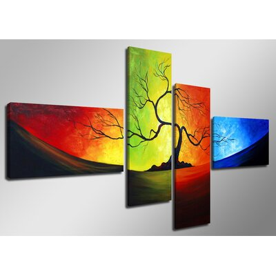 Urban Designs Tree Colorful 4 Piece Graphic Art Wrapped on Canvas Set