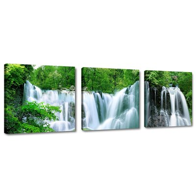 Urban Designs Waterfall 3 Piece Photographic Print Wrapped on Canvas Set