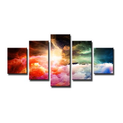 Urban Designs Colorful Clouds 5 Piece Graphic Art on Canvas Set