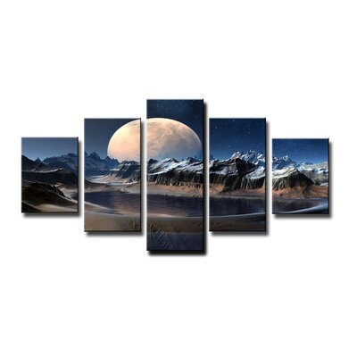 Urban Designs Moon Fantasy 5 Piece Photographic Print Wrapped on Canvas Set