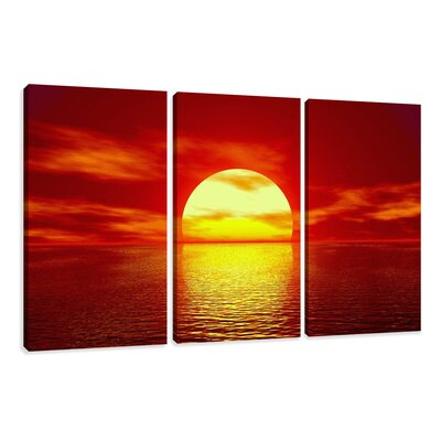 Urban Designs Sunset 3 Piece Photographic Print Wrapped on Canvas Set