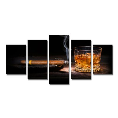 Urban Designs Cigar Whiskey 5 Piece Photographic Print on Canvas Set