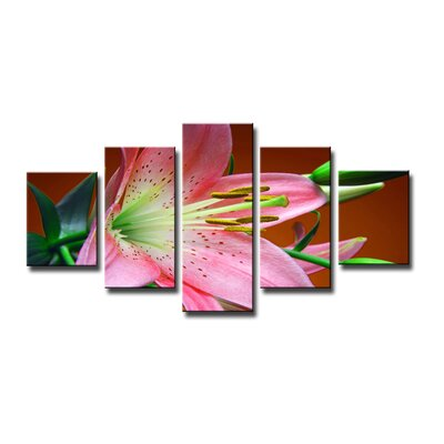 Urban Designs Flower 5 Piece Photographic Print Wrapped on Canvas Set