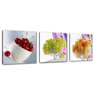 Urban Designs Fruits 3 Piece Photographic Print on Canvas Set