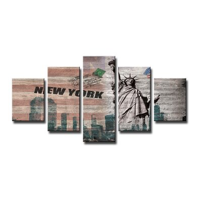Urban Designs New York 5 Piece Graphic Art Wrapped on Canvas Set
