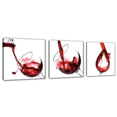 Urban Designs Wine Kitchen Glasses 3 Piece Graphic Art Wrapped on Canvas Set