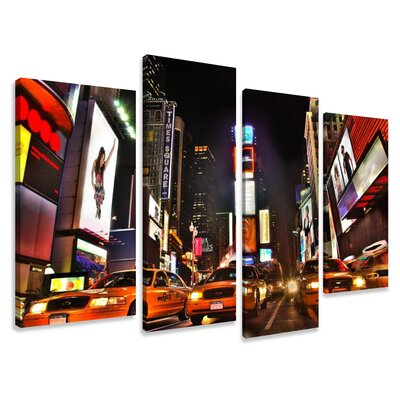 Urban Designs Times Square 4 Piece Photographic Print on Canvas Set