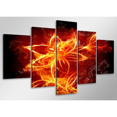 Urban Designs Fire 5 Piece Graphic Art Wrapped on Canvas Set