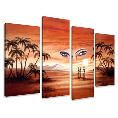 Urban Designs Egypt Eyes 4 Piece Graphic Art Wrapped on Canvas Set