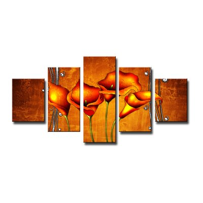 Urban Designs Flowers 5 Piece Art Print on Canvas Set