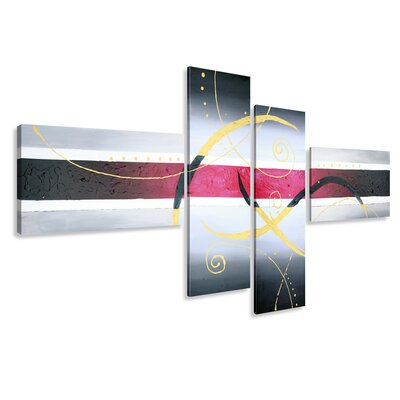Urban Designs Modern 4 Piece Graphic Art Wrapped on Canvas Set