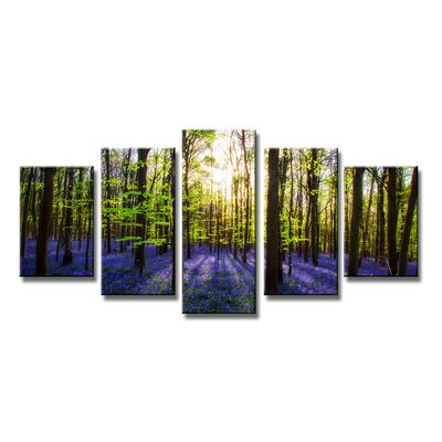 Urban Designs Lavender Forest 5 Piece Photographic Print Wrapped on Canvas Set