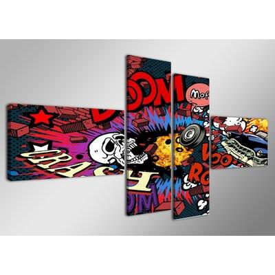 Urban Designs Comic 4 Piece Graphic Art on Canvas Set