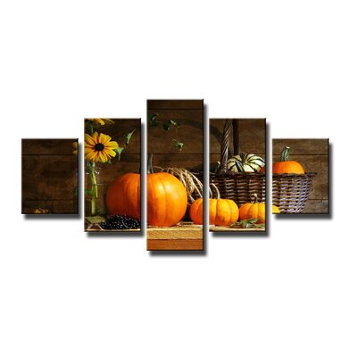 Urban Designs Pumpkin 5 Piece Photographic Print on Canvas Set